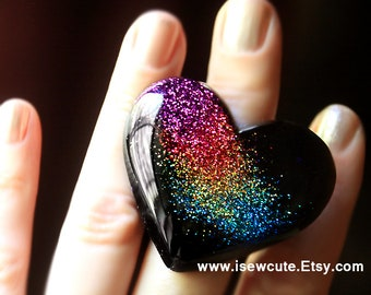 Big Rainbow Dusted Black Heart Ring, Huge Resin Ring, Chunky Resin Ring, Bespoke Rainbow Heart-shaped Festival Jewelry Hand Made by isewcute