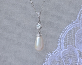 Ivory Pearl Necklace, Ivory Pearl Bridal Necklace, Pearl Teardrop Necklace, AUDREY