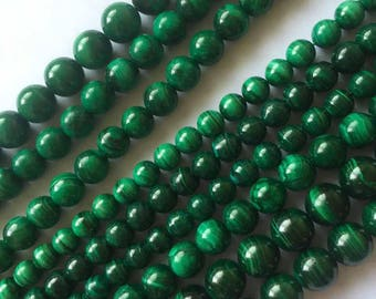 6mm-10mm Natural Malachite Round Beads, Green Striped Stone Beads, Multicolored Beads