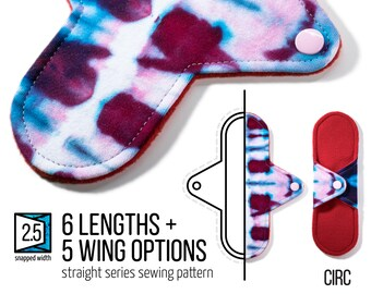 "CIRC Straight | Cloth Pad Pattern |  2.5"" Snapped Width 