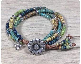 Boho Wrap Bracelet, Leather Bracelet, Beaded Wrap Bracelet, Leather Jewelry, Boho Bracelet, Beaded Bracelet Bohemian Jewelry, Charm Bracelet