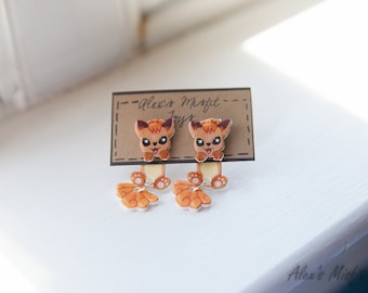 Cute Clinging Vulpix Pokemon Earrings