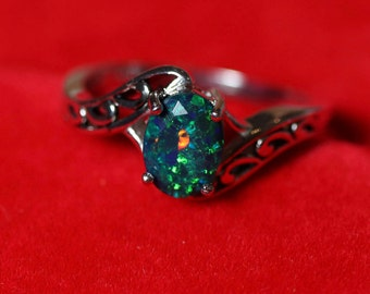 Pin fire pattern, black opal ring, natural black opal ring, black fire opal ring, black opal, fire opal ring, opal rings, black opal jewelry