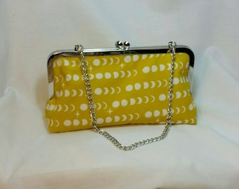 Moon phase mustard clutch with metal frame