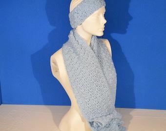 Scarf and Headband Set Light Blue Winter Accessory Winter Apparel Womens Apparel Scarf Headband Ear Warmer Neck Warmer