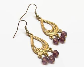 Amethyst chandelier etsy purple filigree chandelier earrings gold filigree chandelier earrings purple prom earrings purple bridesmaid mozeypictures Gallery