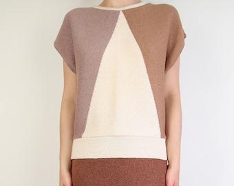 VINTAGE Knit Top 1980s Geometric Shortsleeve Sweater Large