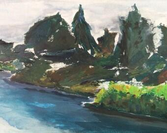 Vintage Abstract River Scene by Harvey Alpert, Original Landscape Art