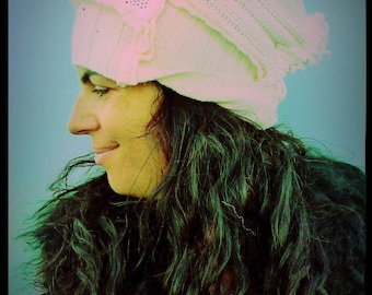 Upcycled White Wool Beanie Style Hat                    ReMade in England UK