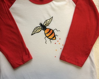 Raglan american apparel size 6 tee hand painted with bumble bee /baseball tee children