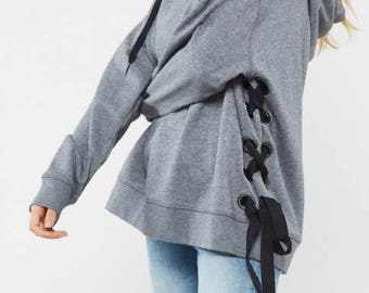 Slouch Lace-Up Hoodie