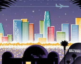 Los Angeles poster, Los Angeles wall art, Los Angeles print, Los Angeles art print, Los Angeles skyline, Los Angeles art, Wall decor, Home