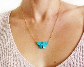 Collar mariposa, collar origami, collar turquesa, collar mariposa turquesa, collar cadena oro, collar para mujer, collar cadena plata de ley