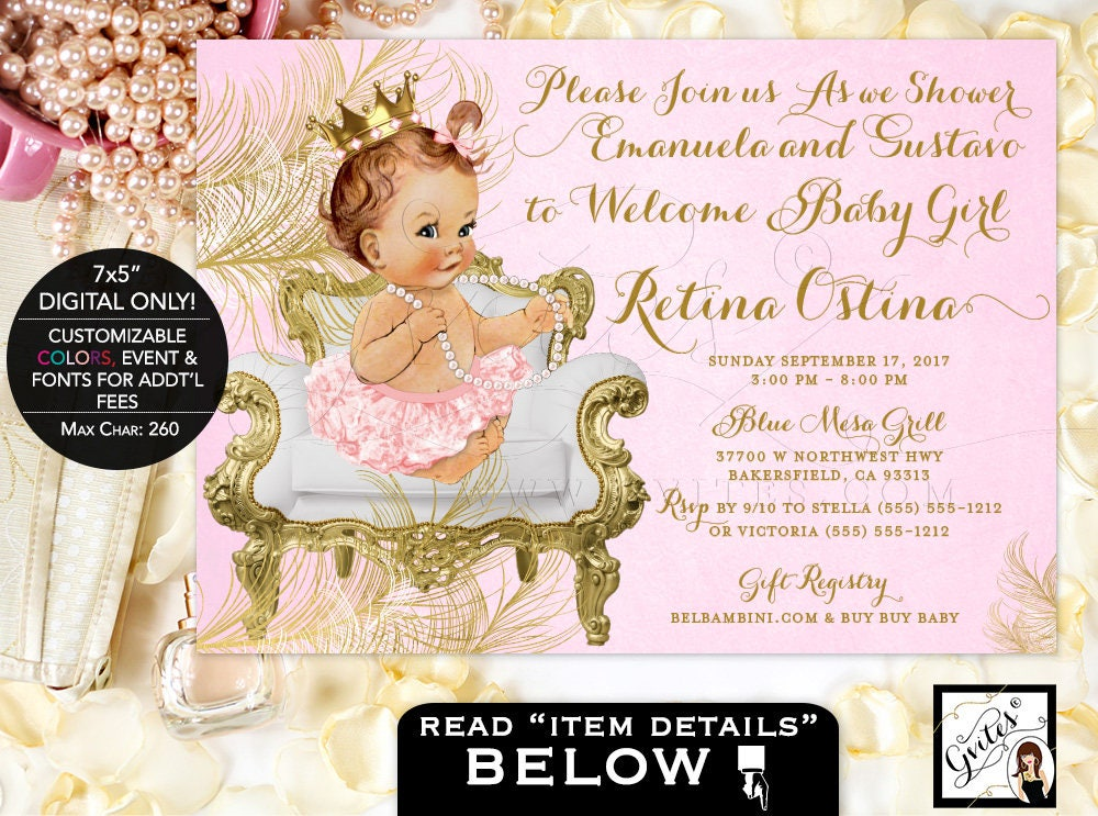 Pink and Gold Baby shower invitations, princess diamonds pearls ...