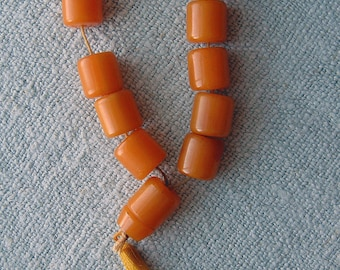Vintage Bakelite Komboloi Worry Beads Original Strand Egg yolk Butterscotch Barrel Beads for Nerves or Repurpose Greek Worry Beads