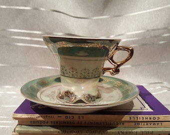 Vintage Made in Japan Teacup and Saucer High Footed Iridescent Opalescent Green with Gold Detail Porcelain