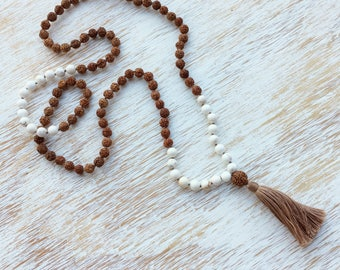 Magnesite Rudraksha Mala, White Mala Necklace, 108 Mala Bead, Prayer Beads, Mala Bead Necklace, Mala Beads 108, Buddhist Jewelry, Mala Beads