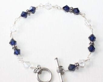 Dark Indigo and Crystal Swarvoski Sterling Silver Wire-wrapped Bracelet