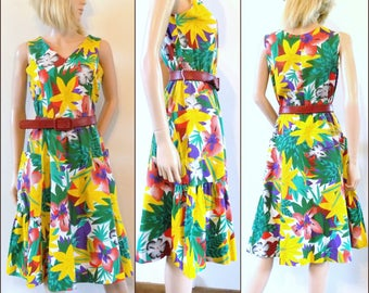 50s/60s tropical print dress French summer dress cute sun dress size smal/medium