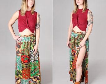 Vintage 1970s High Slit Maxi Skirt - Green Patterned High Waisted Floor Length A-Line 70s Long Beach Vacation Boho Bohemian - Size Medium