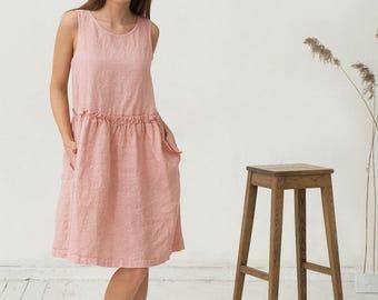 Soft pink linen dress. Loose fit oversized dress. Stonewashed.