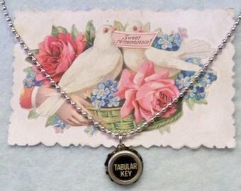 Royal Typewriter Key Pendant Necklace  Plain & Simple * Tabular Key *  24 Inch Ball Chain Necklace Original Antique 5 /8 Inch Bakelite Key