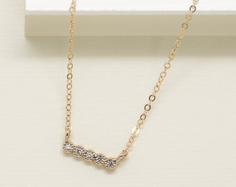 Diamond Bar Necklace, 14k Gold Filled Chain, Dainty Tiny bar Gold Necklace, minimal Delicate Necklace with CZ stones • NPD-100