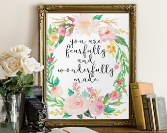 Nursery bible verse, Nursery art, Fearfully and wonderfully made, Psalm 139, Nursery wall art, Christian wall art, Scripture art BD-536