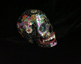 "Stained Glass Mosaic Skull ""Lenny"""