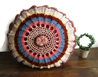 Vintage Swedish Crochet Round Cushion Round Decorative Pillow Boho Pillow Bohemian Decor Shabby Chic Country Cottage Style