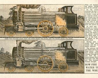 Antique Print, 1920s TRAINS Chart 3207b wall art vintage color lithograph illustration locomotive