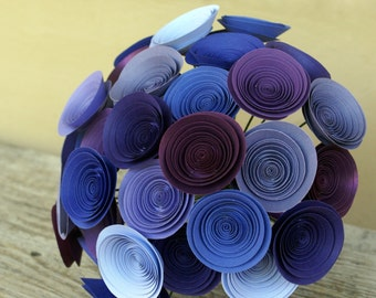 Purple Paper Flower Bridal Bouquet, Large Wedding Bouquet in Plum, Violet, Amethyst, Lavender