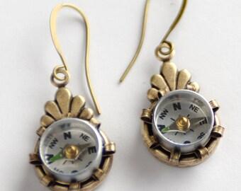 Compass Earrings, Working Compass Steampunk Earrings, Mini Compass Jewelry, Industrial Geek Nerd Earrings, Wanderlust, Techie Gift, SRAJD