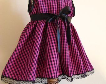 Baby fuchsia Plaid and black taffeta evening dress