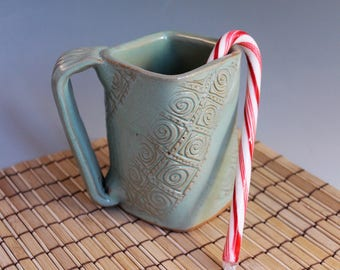 Square Stoneware Mug -  green - great gift for co-worker - secret santa