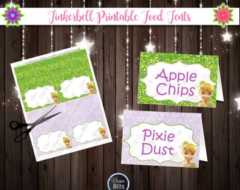 Tinkerbell Printable Food Tents , Tinkerbell Food Labels, Fairy Birthday Printable, Tinkerbell Place Card, 1st Birthday, Neverland Printable