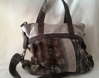 Fabric and fur bag
