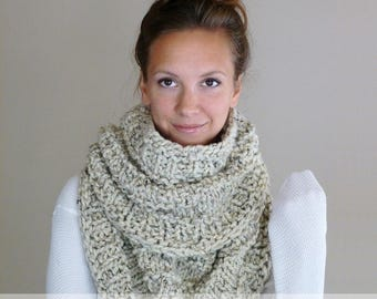 Knitting Pattern Chunky Infinity Scarf Cowl THE NEIL NECKWARMER, Knit Cowl Pattern, Knitted Scarf Pattern Chunky Snood Circle Scarf Pattern