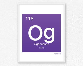 118 Oganesson, Periodic Table Element | Periodic Table of Elements, Science Wall Art, Science Poster, Science Print, Science Gift