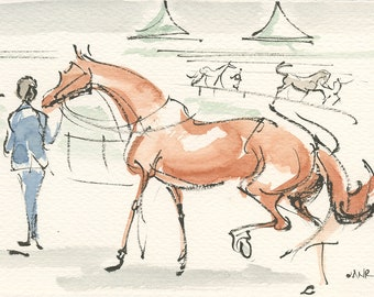 """Kentucky Derby, Race Horse Art, Equestrian Art from Life, by Anna Noelle Rockwell, """"Derby Parade"""""""