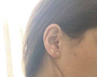Gold Initial Stud Earrings, Alphabet Earring Post, 14K gold plated, 925 Sterling Silver Posts, Monogram Earrings,Initial Earring Posts