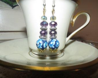Handmade unique blue earrings.