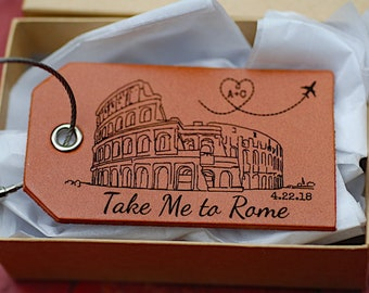 Take Me to Rome Baggage Tag, Luggage Tag, Italy, Travel Gift, Honeymoon Gift, Anniversary, Leather, Roman Coliseum, Travel Tag, Bag Tag,