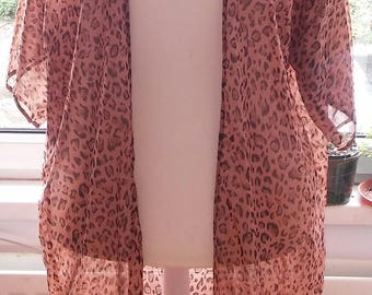 Plus size Long kimono,Sun cover up, Light jacket, duster leopard, black, pink,white etc print short sleeves, see through, sheer, sizes 10-28