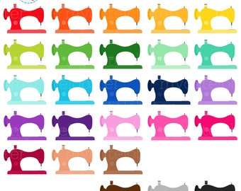 Rainbow Sewing Machines Clipart Set - sewing clip art, sewing machines, stitching - personal use, small commercial use, instant download