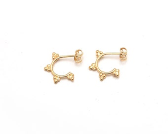 Tri cluster Hoop Stacking earrings Gold andSilver