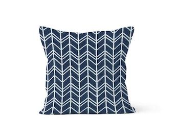Navy Chevron Pillow Cover - Bogatell Vintage Indigo - Lumbar 12 14 16 18 20 22 24 26 Euro - Hidden Zipper Closure