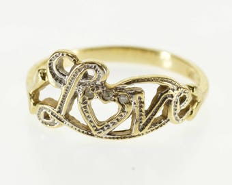 14k Two Tone Diamond Accented Cursive Love Ring Gold