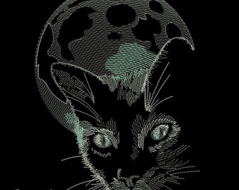 Moon cat - MACHINE EMBROIDERY DESIGN
