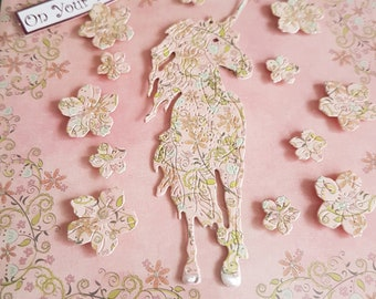 Handmade Birthday card with Magical Mystery effect fairy tale  Unicorn in pinks and creams with a glitter effect to the flowers